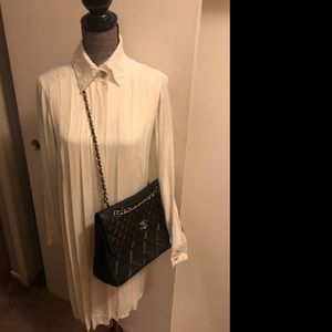 CHANEL pleated button down shift dress